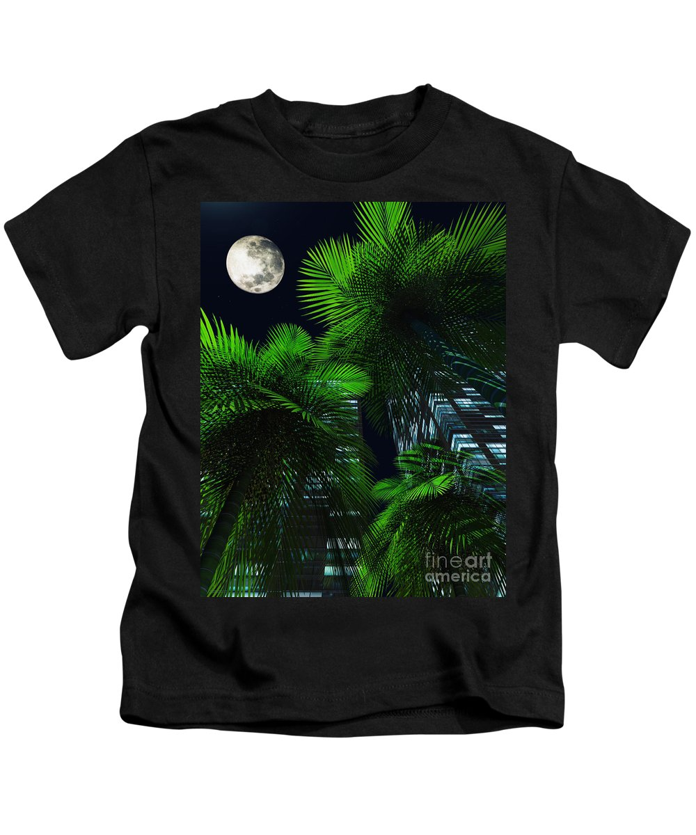 Tropics Kids T-Shirt featuring the digital art City Nights by Richard Rizzo