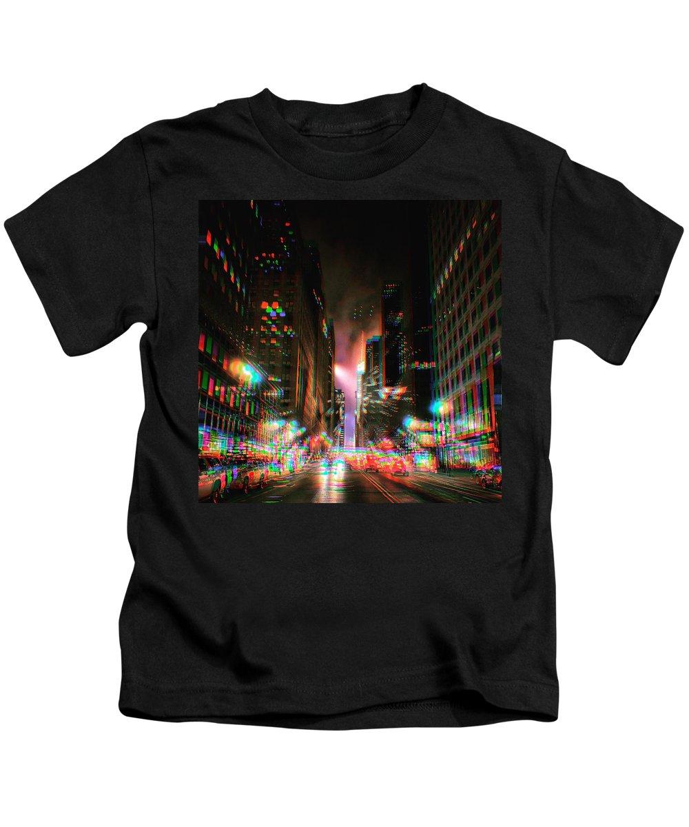Blurry Manhattan Night Kids T-Shirt featuring the photograph City Speed by Robert Villano