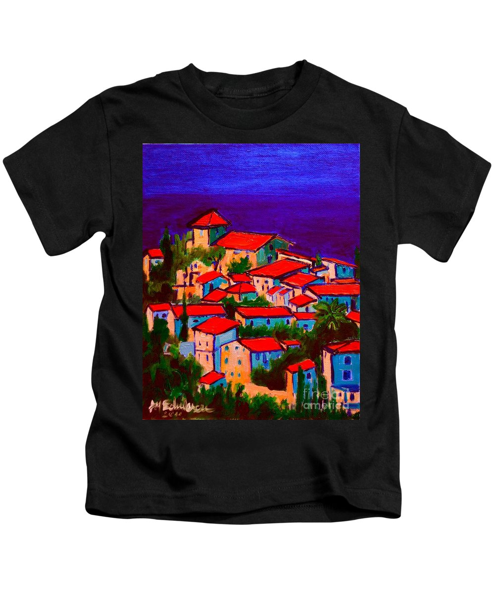 Cityscape Kids T-Shirt featuring the painting Cityscape Village From Mallorca by Ana Maria Edulescu