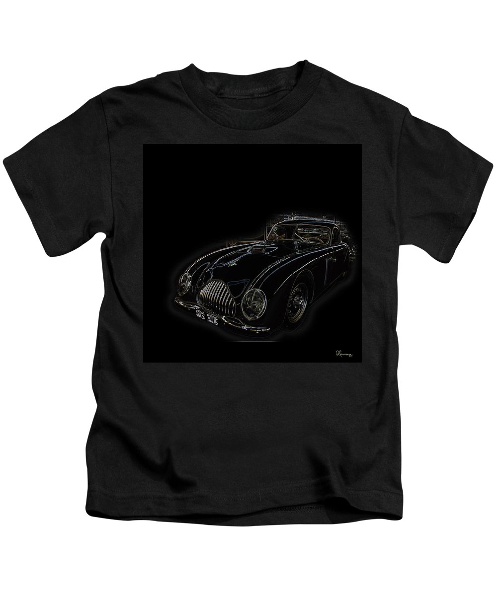 Classic Car Antique Show Room Vehicle Glowing Edge Black Light Chevy Dodge Ford Ride Kids T-Shirt featuring the photograph Classic 2 by Andrea Lawrence