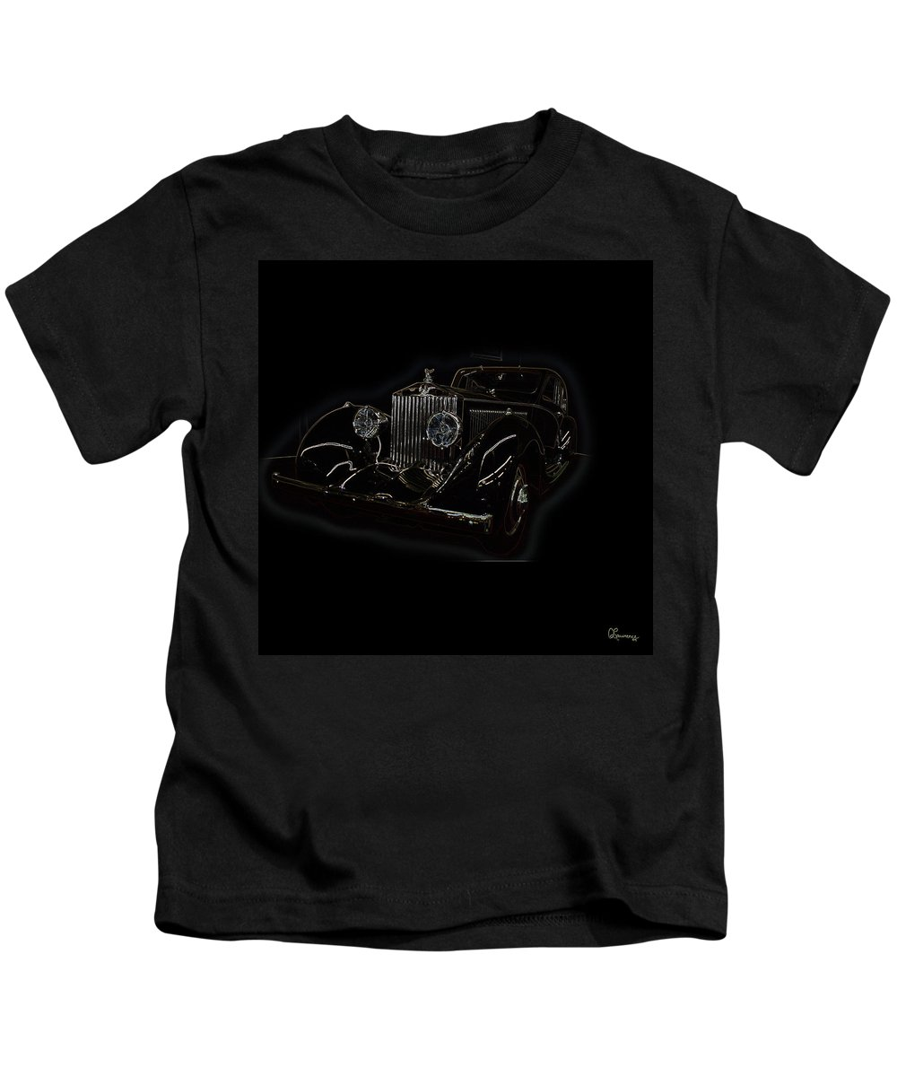 Classic Car Antique Show Room Vehicle Glowing Edge Black Light Chevy Dodge Ford Ride Kids T-Shirt featuring the photograph Classic 3 by Andrea Lawrence