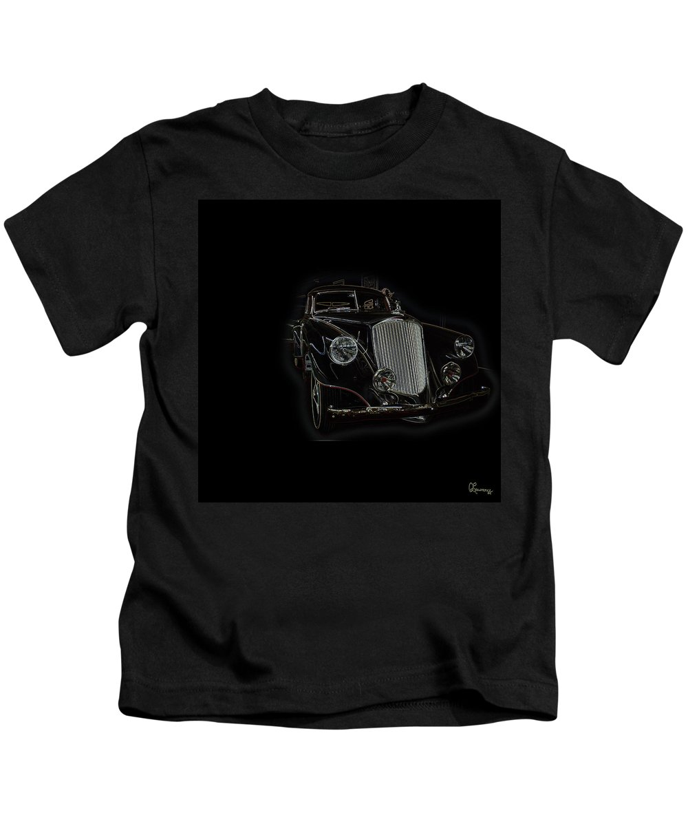 Classic Car Antique Show Room Vehicle Glowing Edge Black Light Chevy Dodge Ford Ride Kids T-Shirt featuring the photograph Classic 4 by Andrea Lawrence