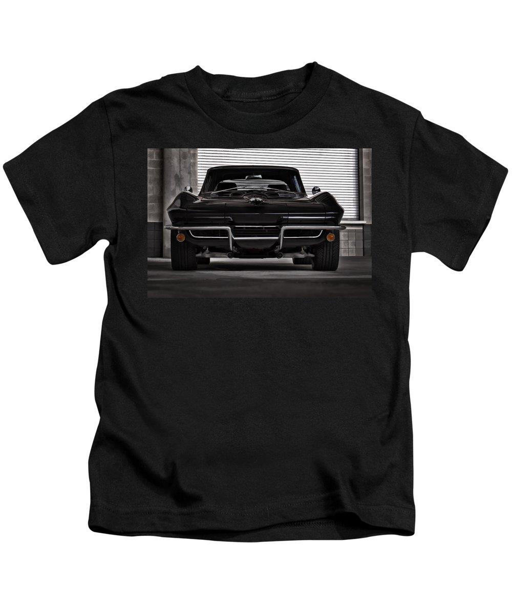 Corvette Kids T-Shirt featuring the digital art Classic Black by Douglas Pittman