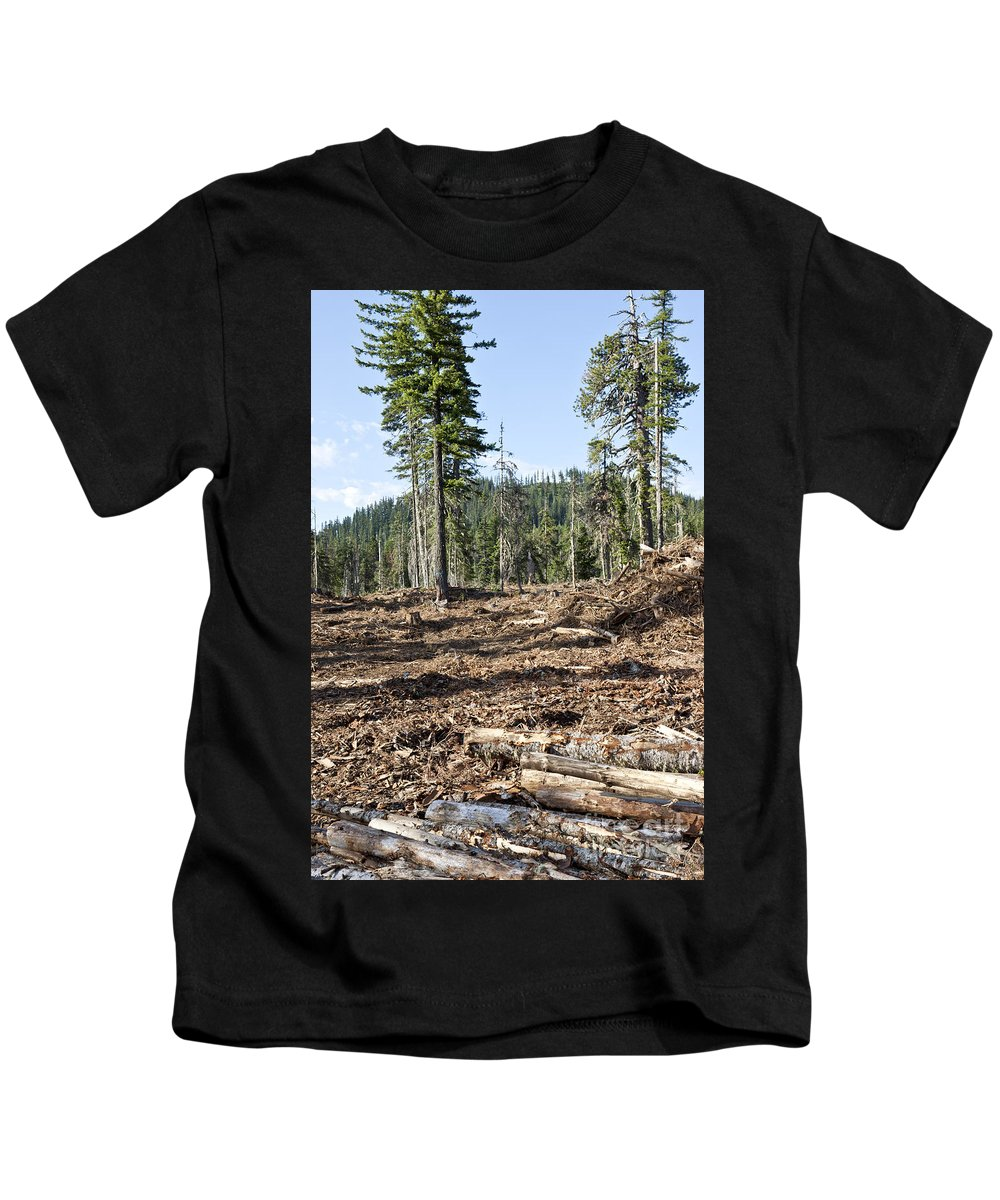 Logging Logged Logs Kids T-Shirt featuring the photograph Clearcutting by Inga Spence