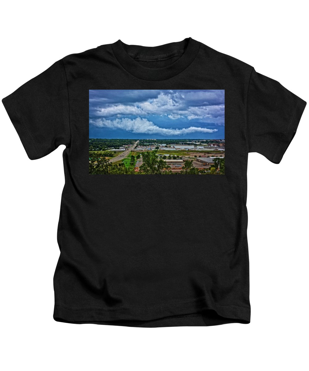 South Dakota Kids T-Shirt featuring the photograph Cliff Avenue Storm Clouds by M Dale