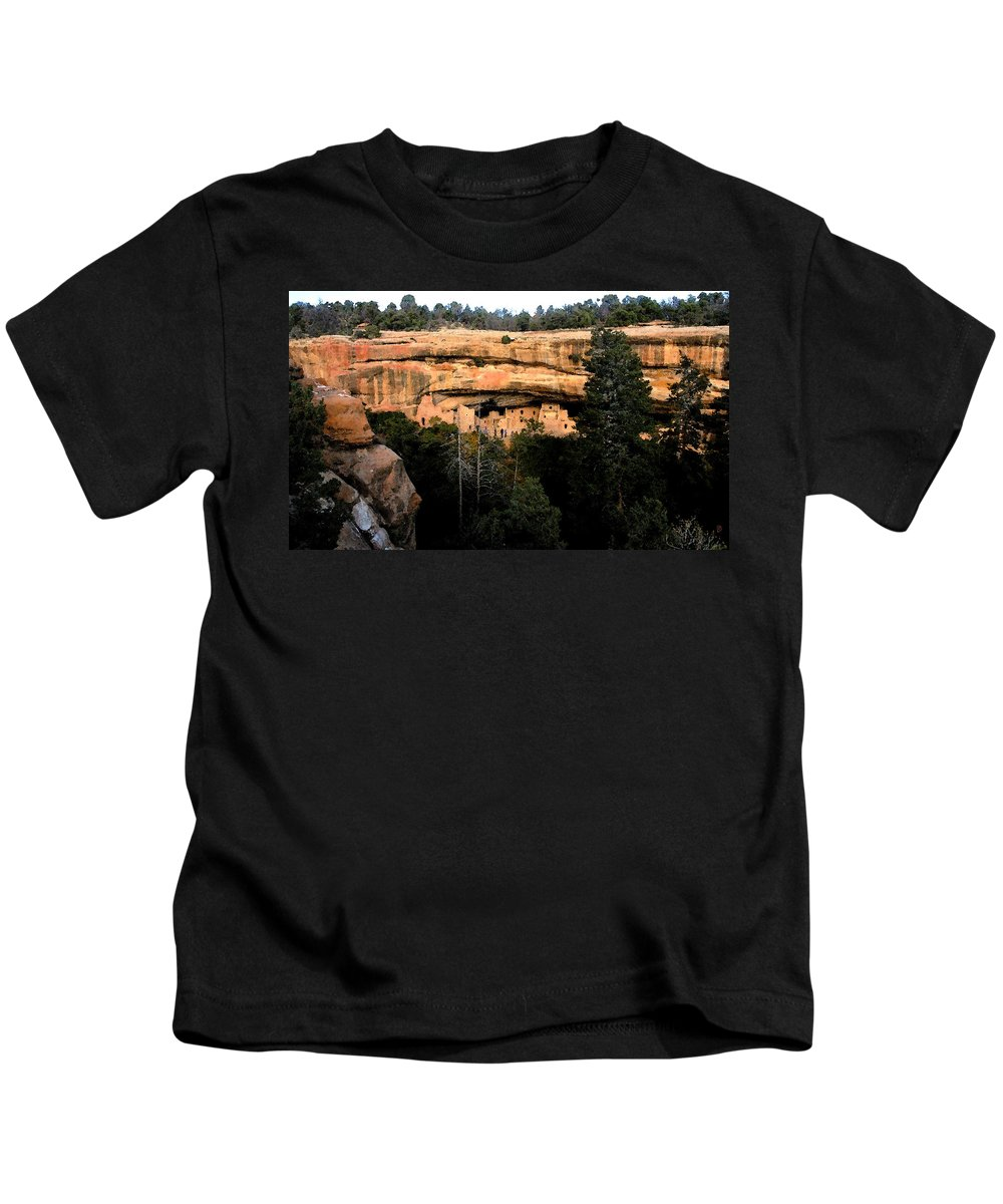 Cliff Dwellings Kids T-Shirt featuring the painting Cliff Dwelling by David Lee Thompson