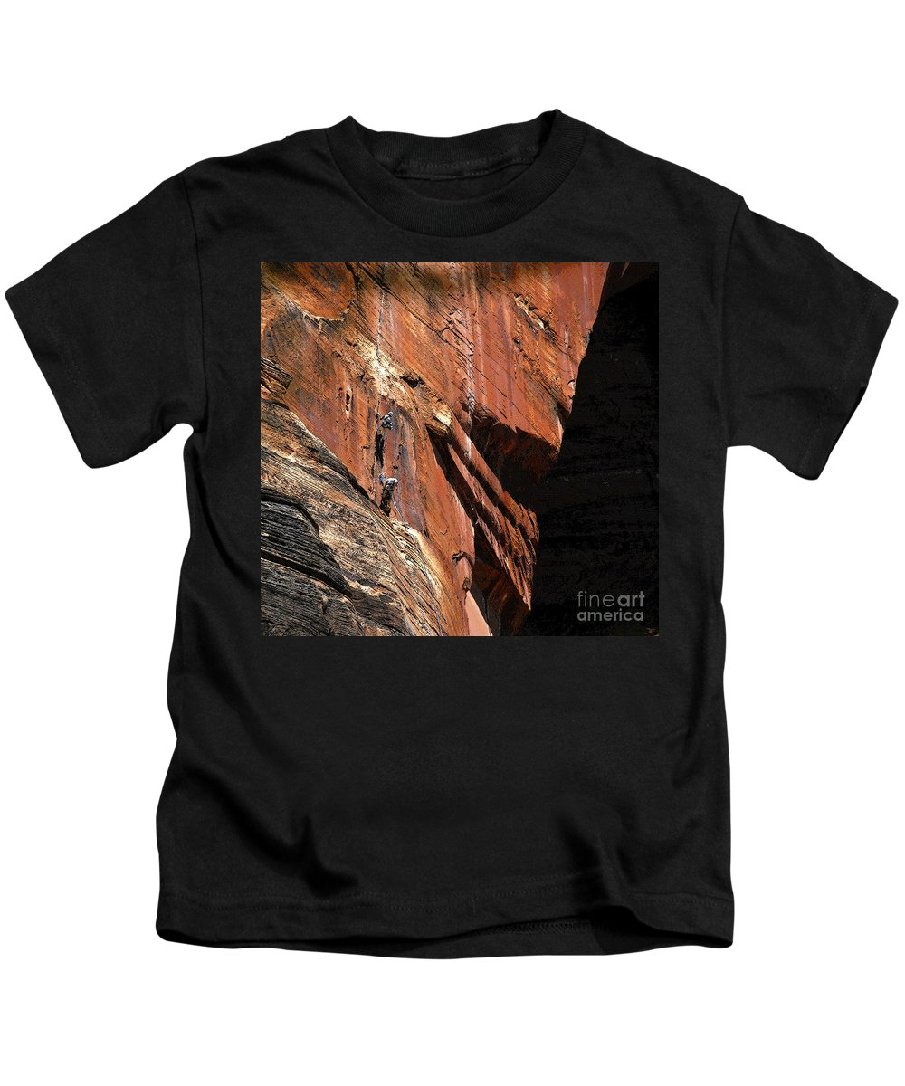 Art Kids T-Shirt featuring the painting Climbing The Great Arch by David Lee Thompson