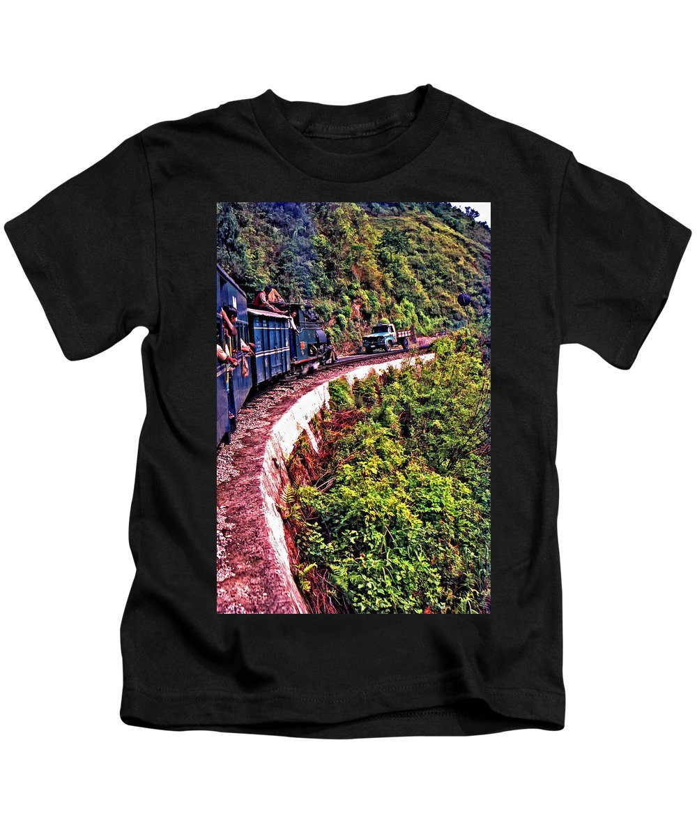 Toy Train Kids T-Shirt featuring the photograph Climbing The Himalayas by Steve Harrington
