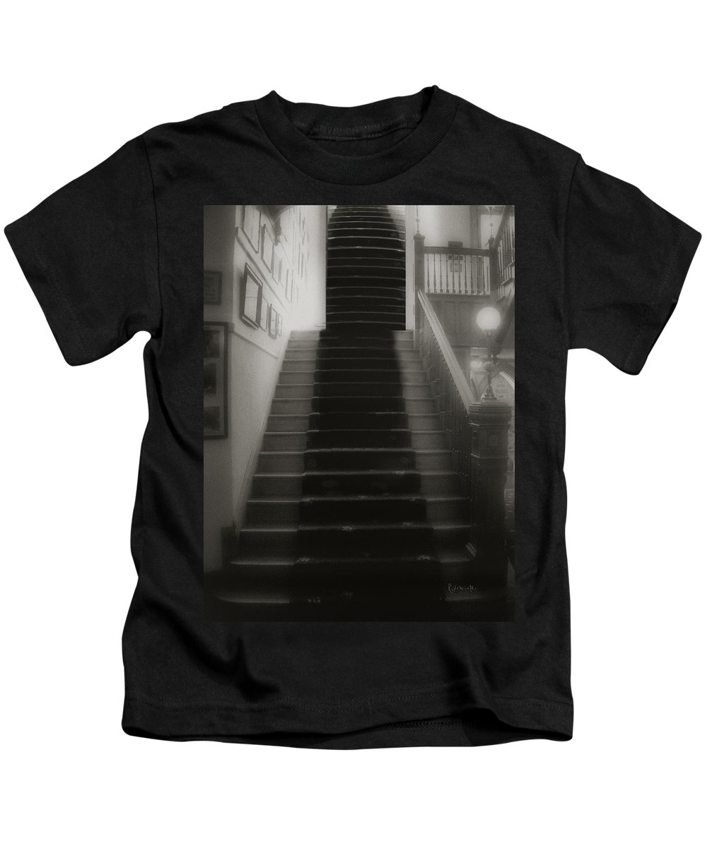 Black And White Kids T-Shirt featuring the photograph Climbing Toward The Unknown by RC DeWinter