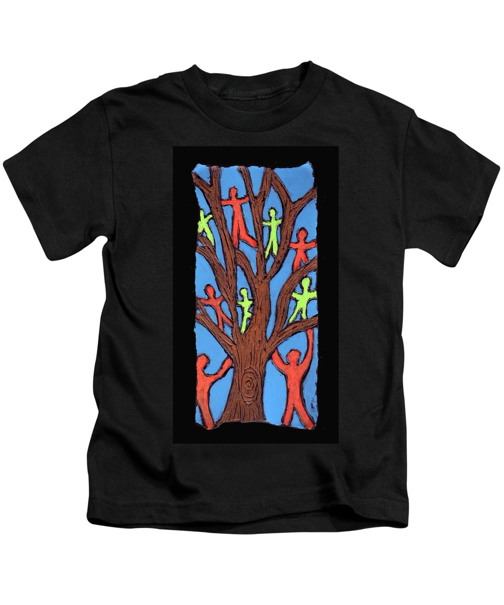 People Kids T-Shirt featuring the painting Climbing by Wayne Potrafka