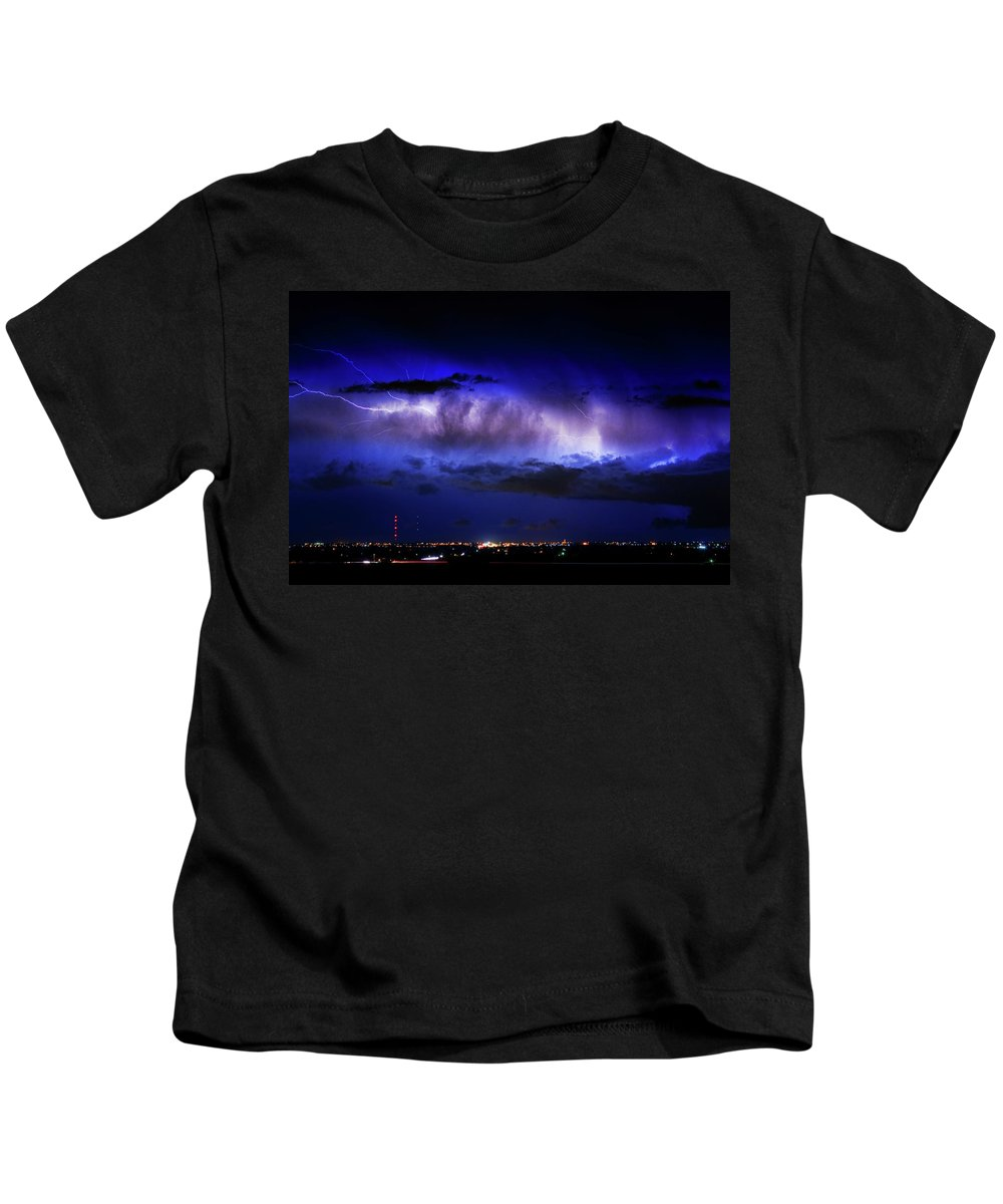 Bouldercounty Kids T-Shirt featuring the photograph Cloud To Cloud Lightning Boulder County Colorado by James BO Insogna