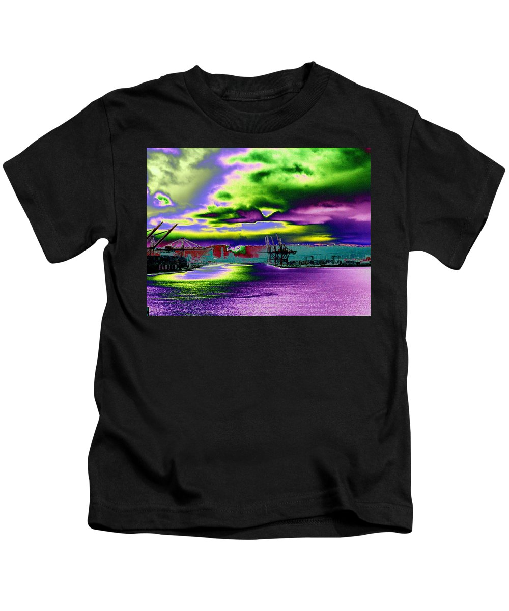 Seattle Kids T-Shirt featuring the photograph Clouds Over Harbor Island by Tim Allen