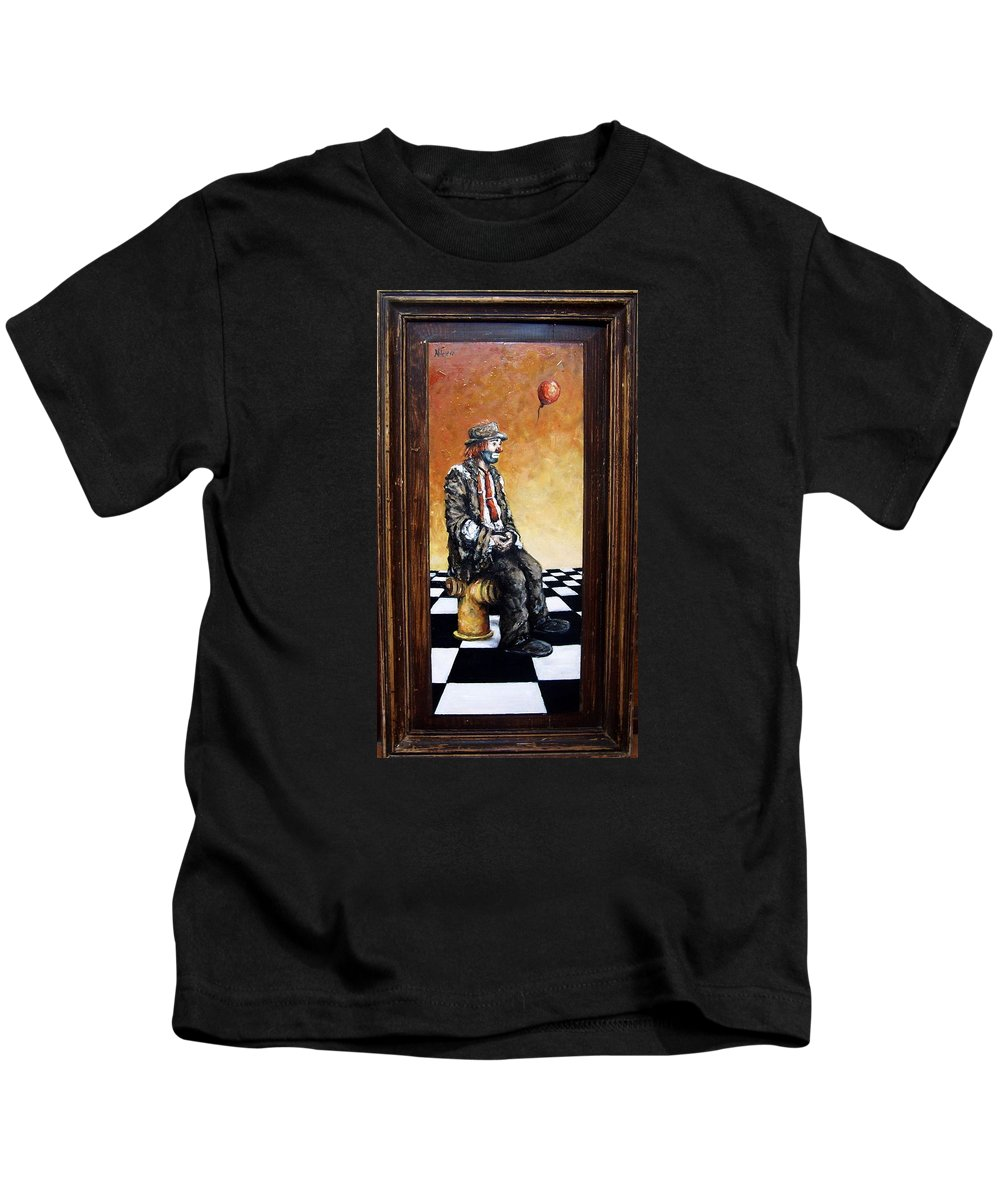 Clown Man Figurative Figure Human Surrealism Chess Emotion Kids T-Shirt featuring the painting Clown S Melancholy by Natalia Tejera