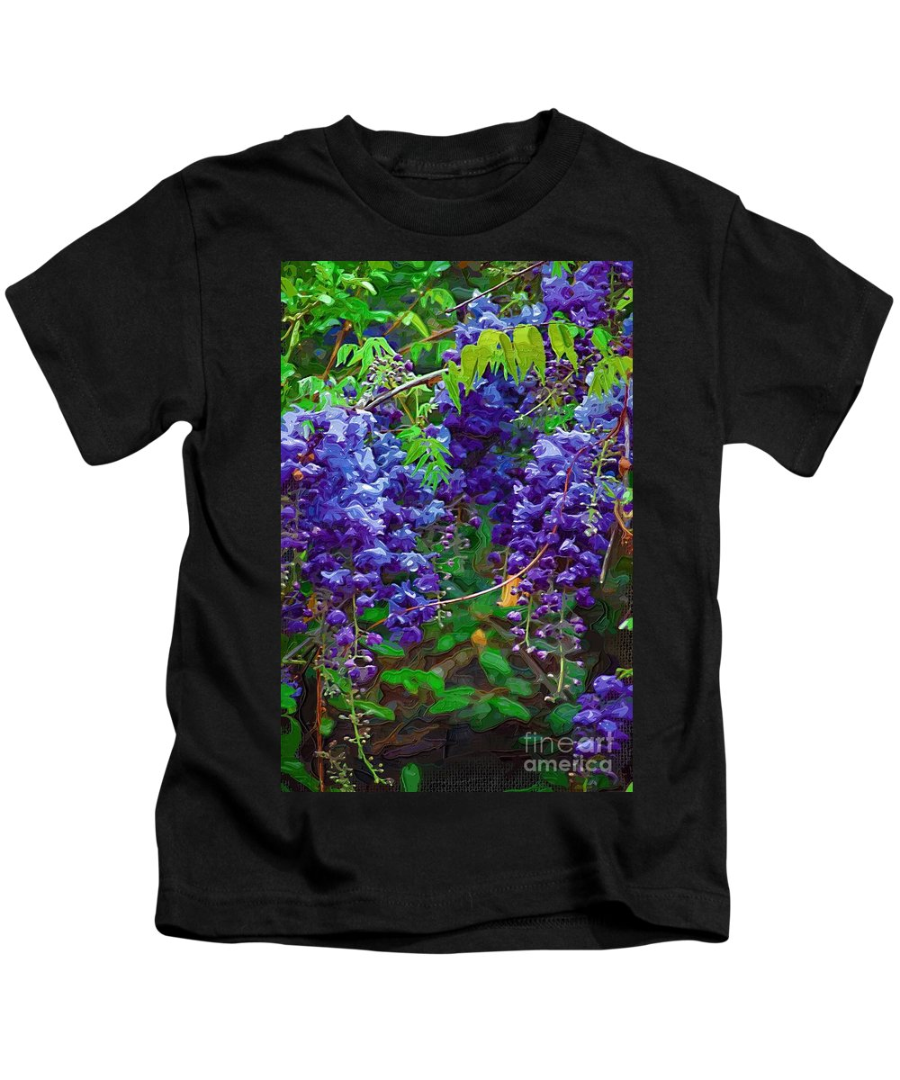 Wisteria Kids T-Shirt featuring the photograph Clusters Of Wisteria by Donna Bentley