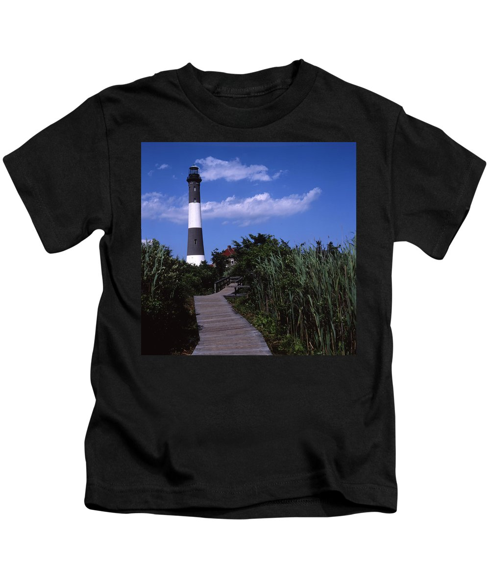 Landscape Lighthouse Fire Island Kids T-Shirt featuring the photograph Cnrf0702 by Henry Butz