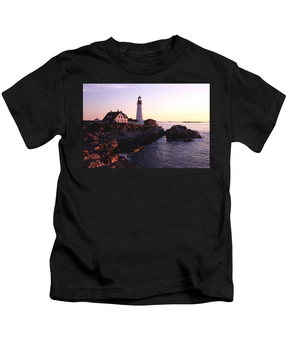Landscape Lighthouse Nautical New England Portland Head Light Cape Elizabeth Kids T-Shirt featuring the photograph Cnrf0904 by Henry Butz
