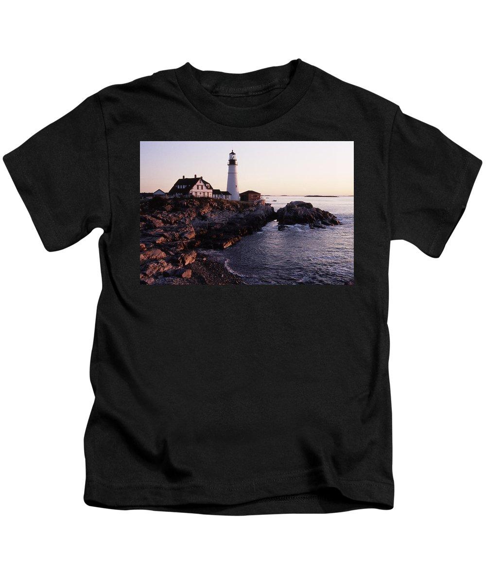 Landscape Lighthouse Nautical New England Portland Head Light Cape Elizabeth Kids T-Shirt featuring the photograph Cnrf0905 by Henry Butz