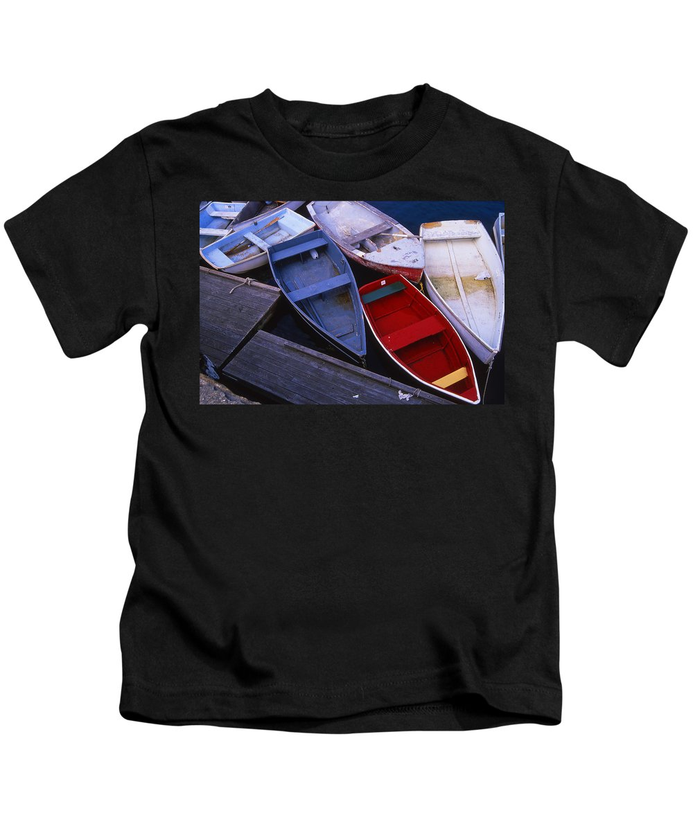 Landscape New England Boat Fishing Nautical Coast Kids T-Shirt featuring the photograph Cnrf0906 by Henry Butz