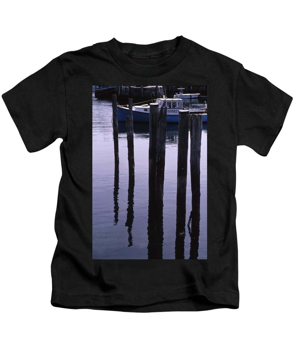 Landscape New England Fishing Boat Nautical Coast Kids T-Shirt featuring the photograph Cnrf0907 by Henry Butz