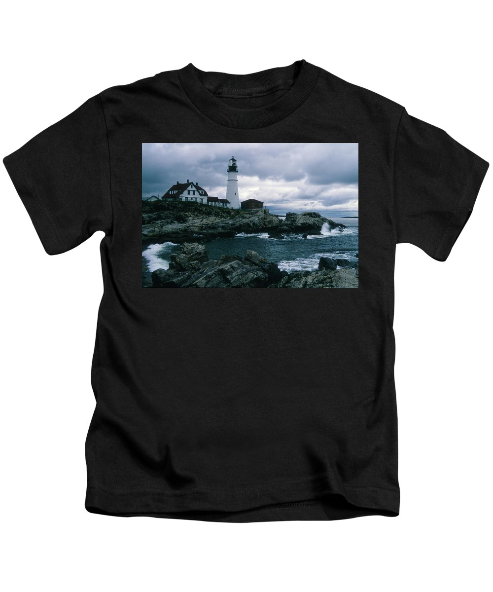 Landscape New England Lighthouse Nautical Storm Coast Kids T-Shirt featuring the photograph Cnrg0601 by Henry Butz