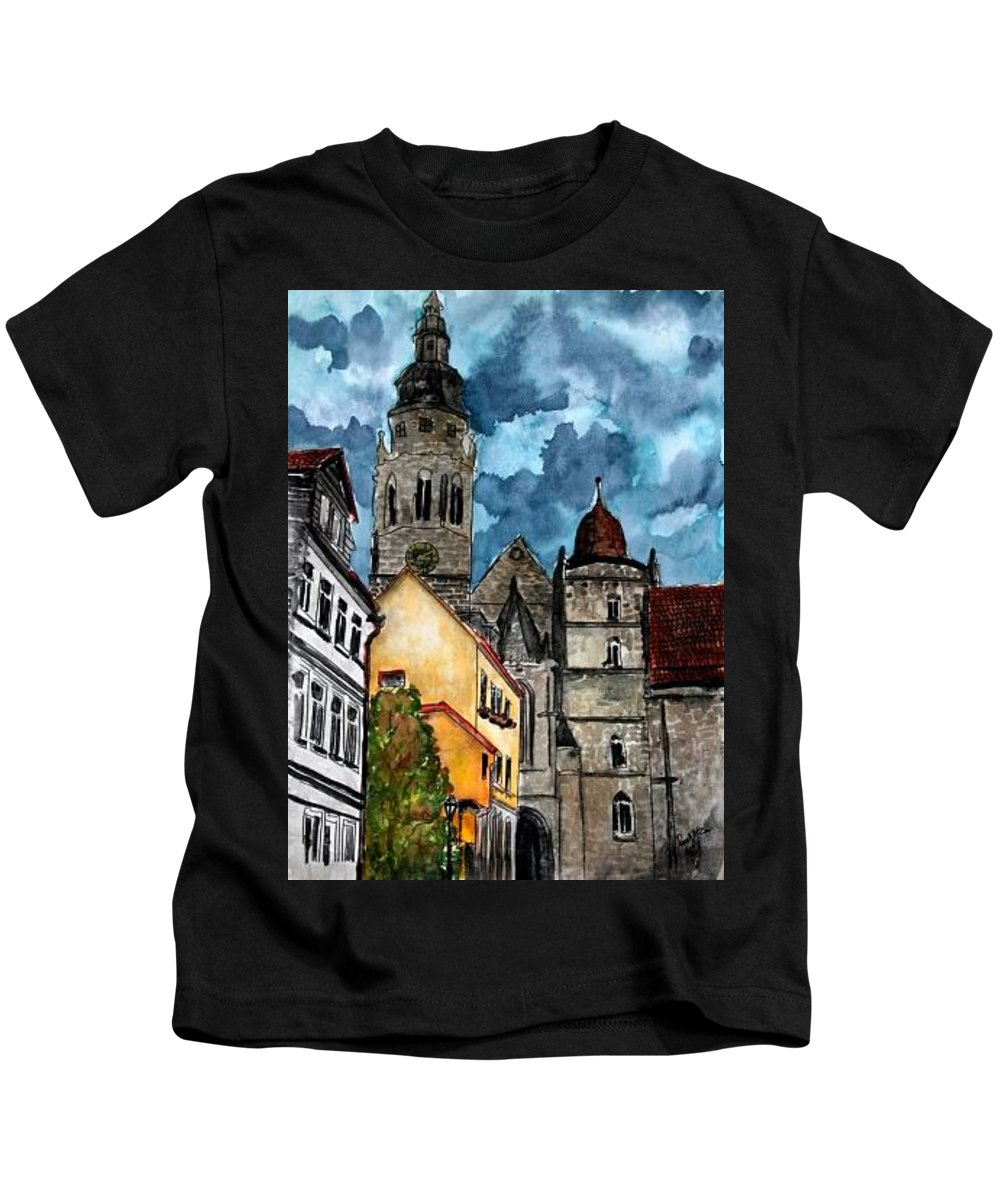 Germany Kids T-Shirt featuring the painting Coburg Germany Castle Painting Art Print by Derek Mccrea