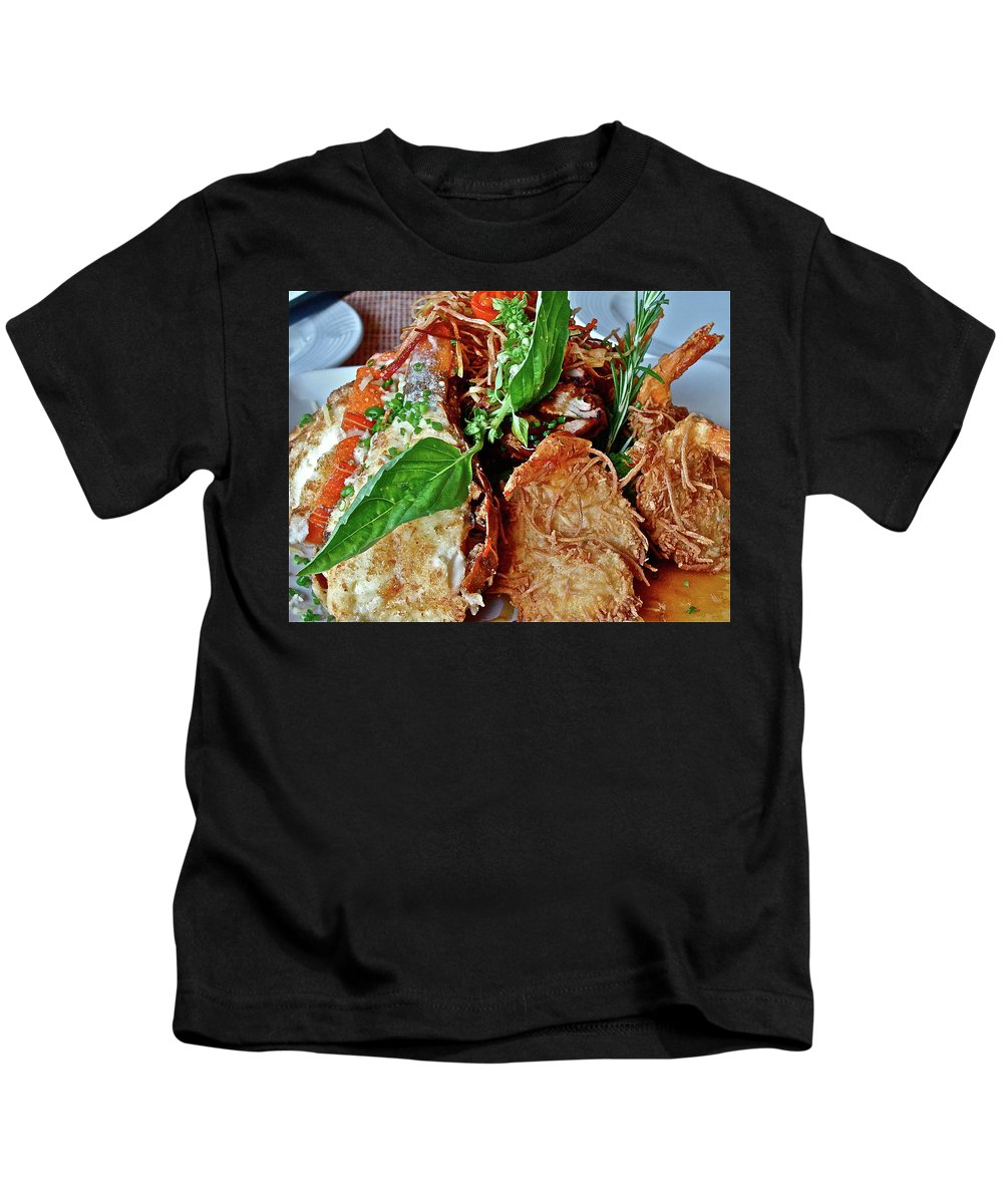 Food Kids T-Shirt featuring the photograph Coconut Shrimp by Diana Hatcher