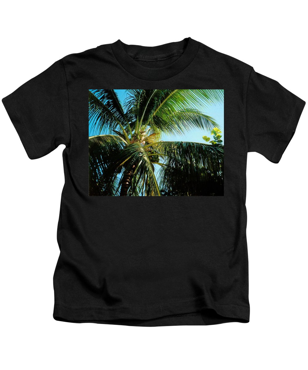 Jamaica Kids T-Shirt featuring the photograph Coconut Tree by Debbie Levene