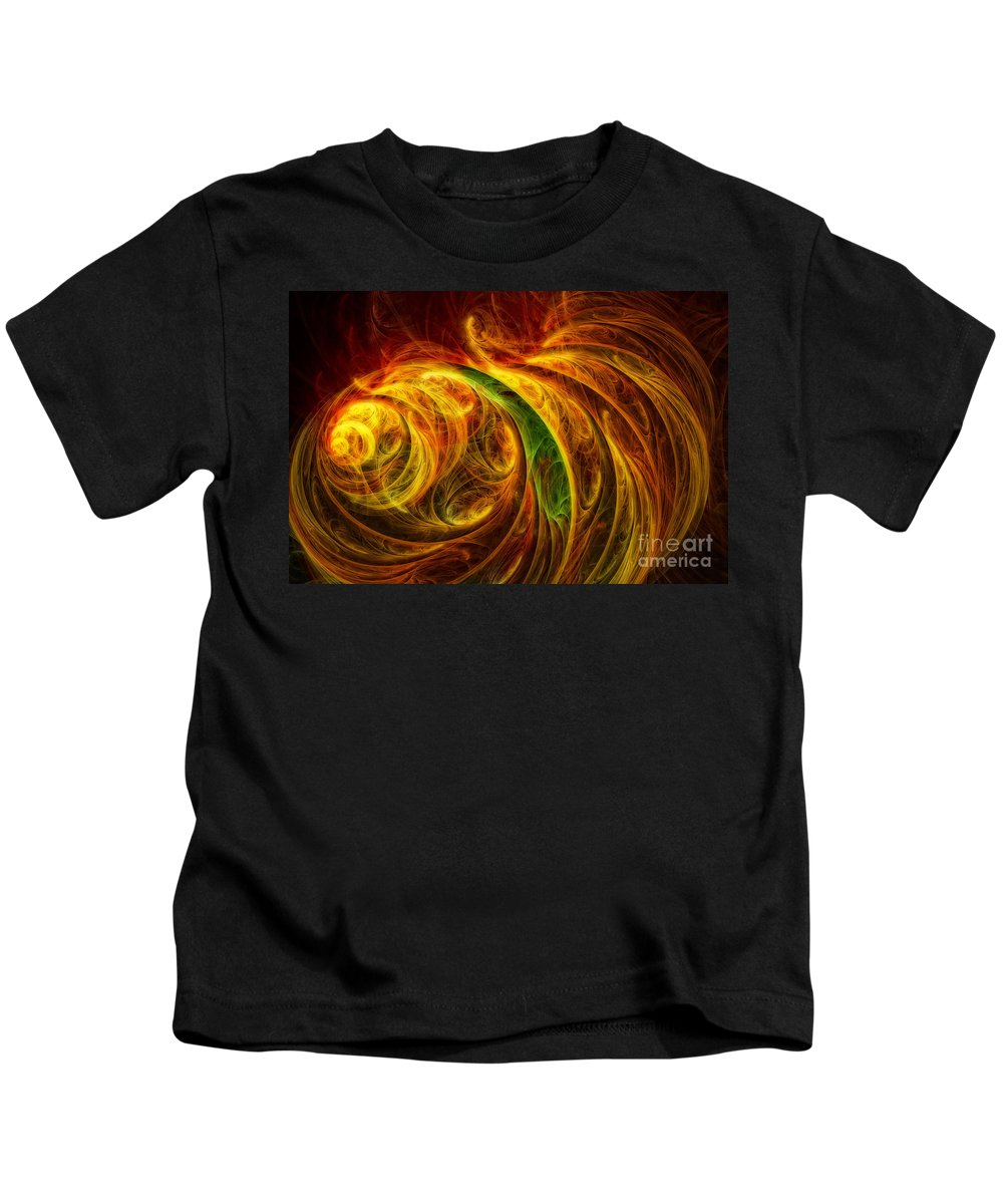 Abstract Art Kids T-Shirt featuring the digital art Cocoon Of Glowing Spirits Abstract by Olga Hamilton