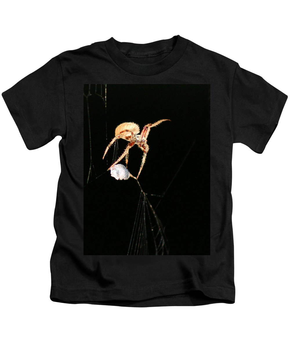 Spider Kids T-Shirt featuring the photograph Cocooning The Victim by Kristin Elmquist
