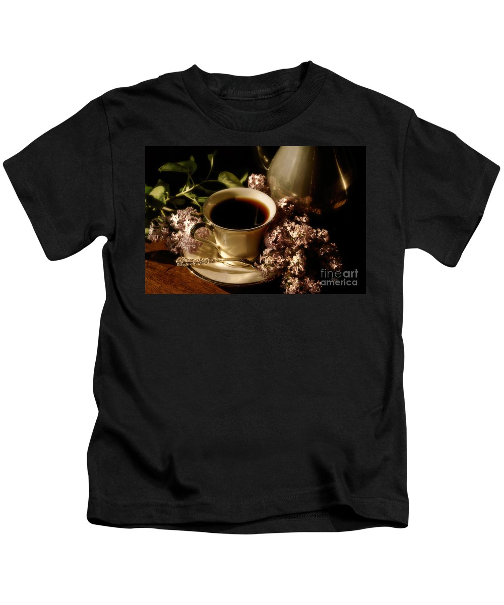 Coffee Kids T-Shirt featuring the photograph Coffee And Lilacs In The Morning by Lois Bryan