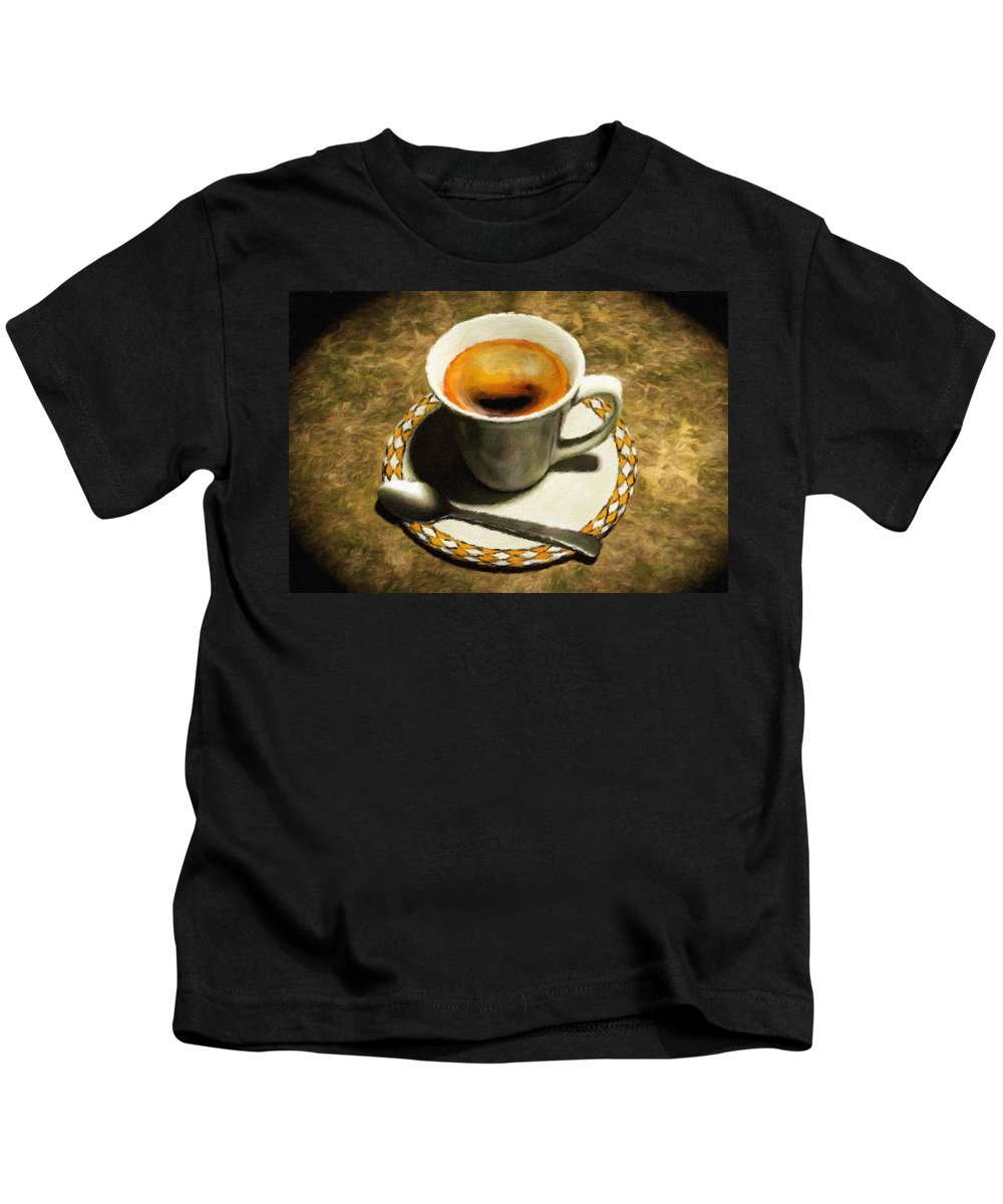 Cup Kids T-Shirt featuring the painting Coffee - Id 16217-152032-0430 by S Lurk
