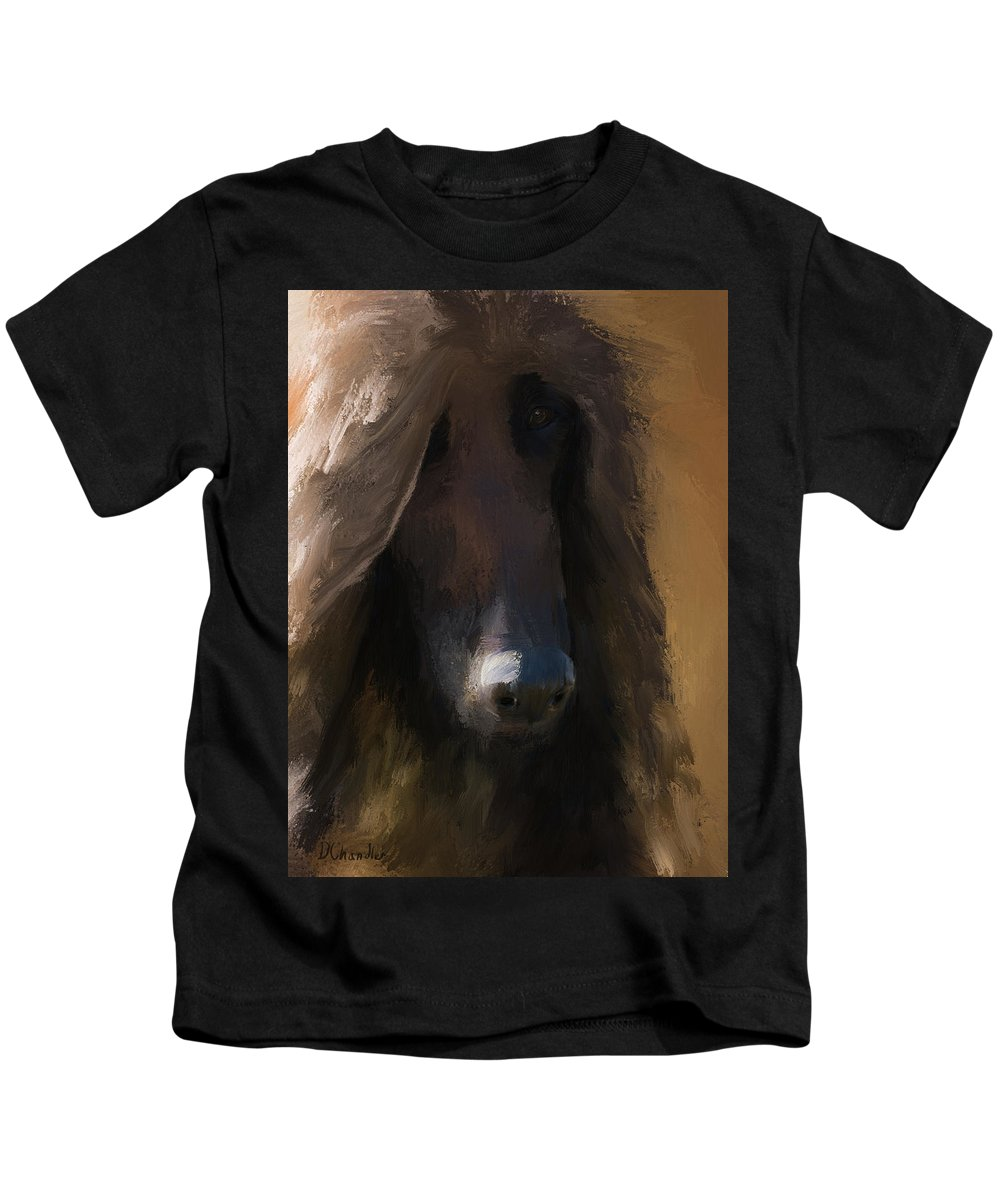 Afghan Hound Kids T-Shirt featuring the painting Cogito by Diane Chandler