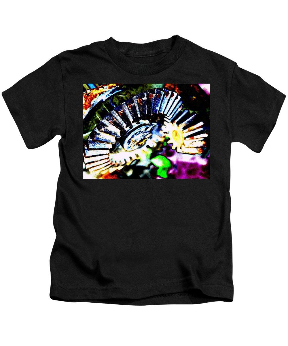 Cogs Kids T-Shirt featuring the digital art Cogs by Tim Allen