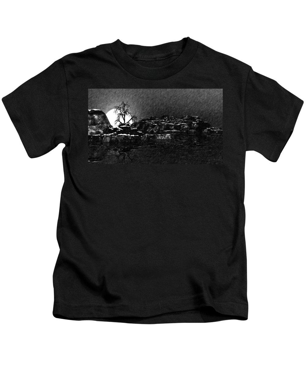 Fine Art Kids T-Shirt featuring the digital art Cold by David Lane