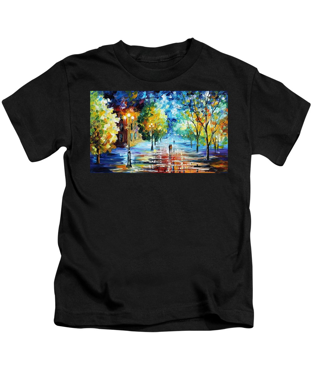 Afremov Kids T-Shirt featuring the painting Cold Emotions by Leonid Afremov