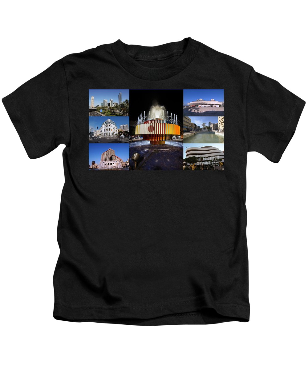 Collage Kids T-Shirt featuring the photograph Collage Of Tel Aviv Israel by Ilan Rosen
