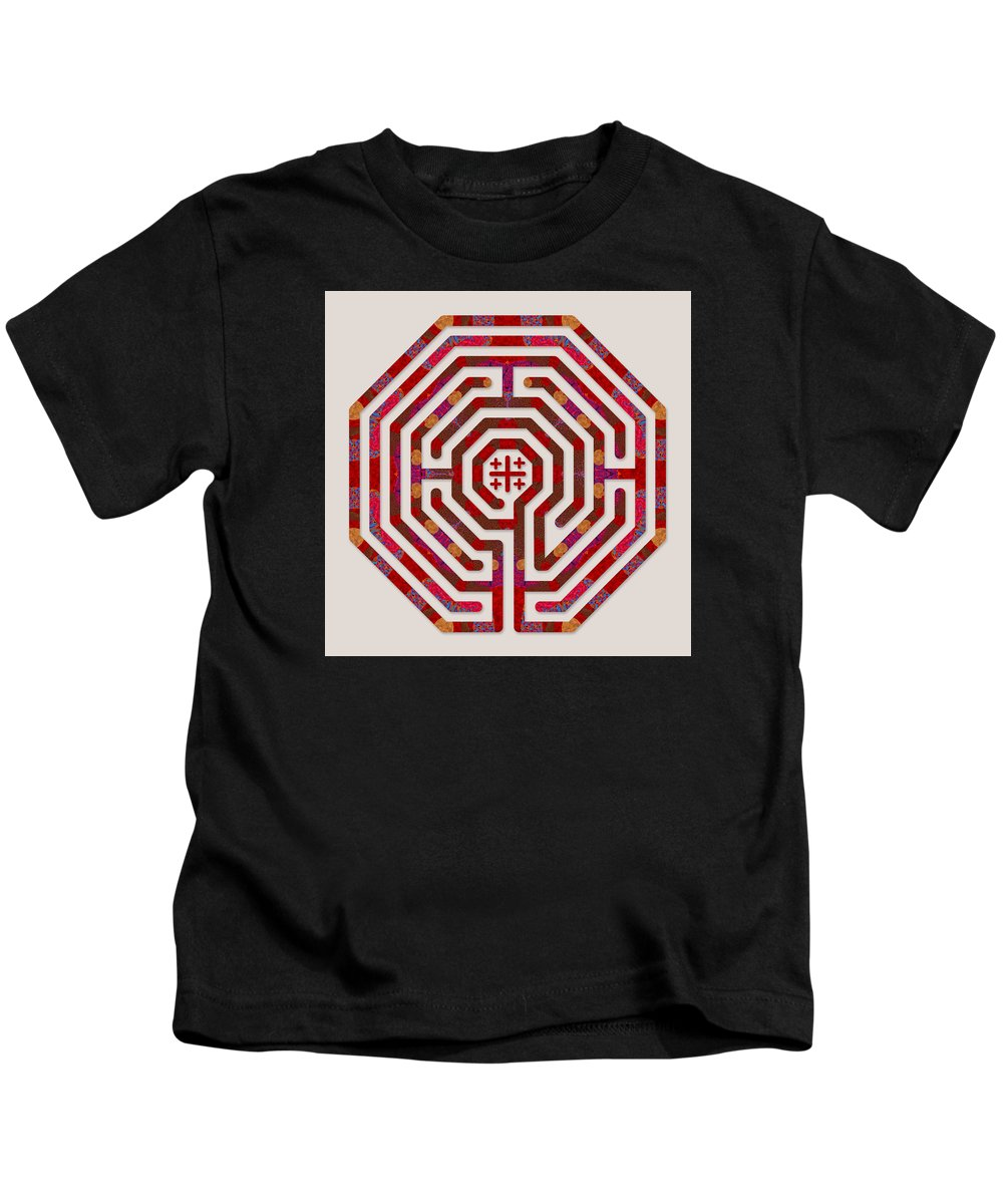 Labyrinth Art Kids T-Shirt featuring the digital art Cologne - Red Earth by Fine Art Labyrinths