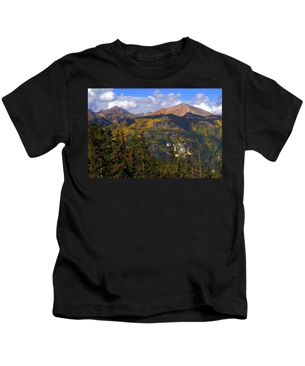 Mountain Kids T-Shirt featuring the photograph Colorado Fall by Marty Koch