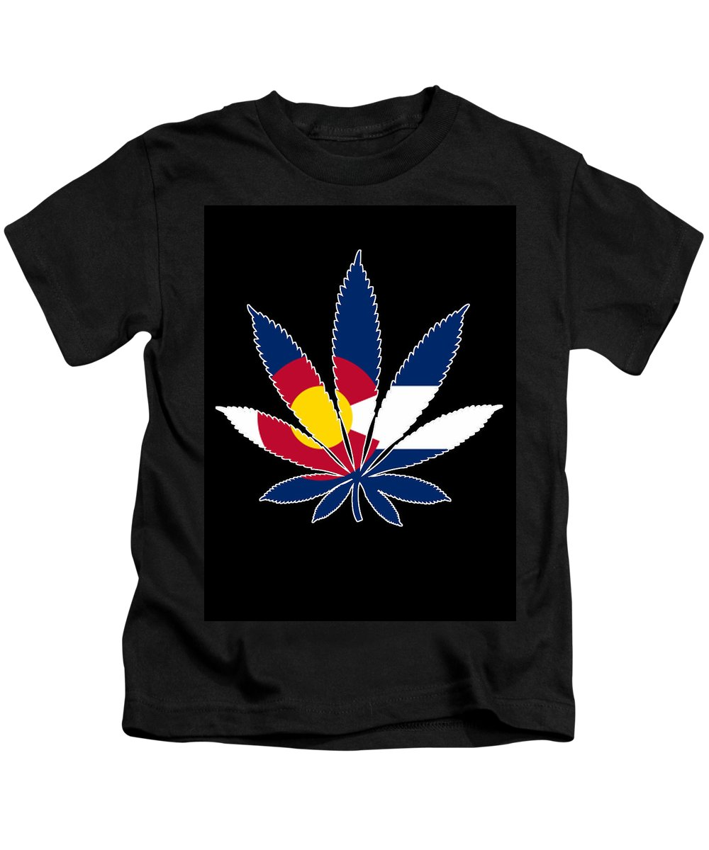 Colorado Kids T-Shirt featuring the digital art Colorado Weed Leaf by Carolyn Anderson