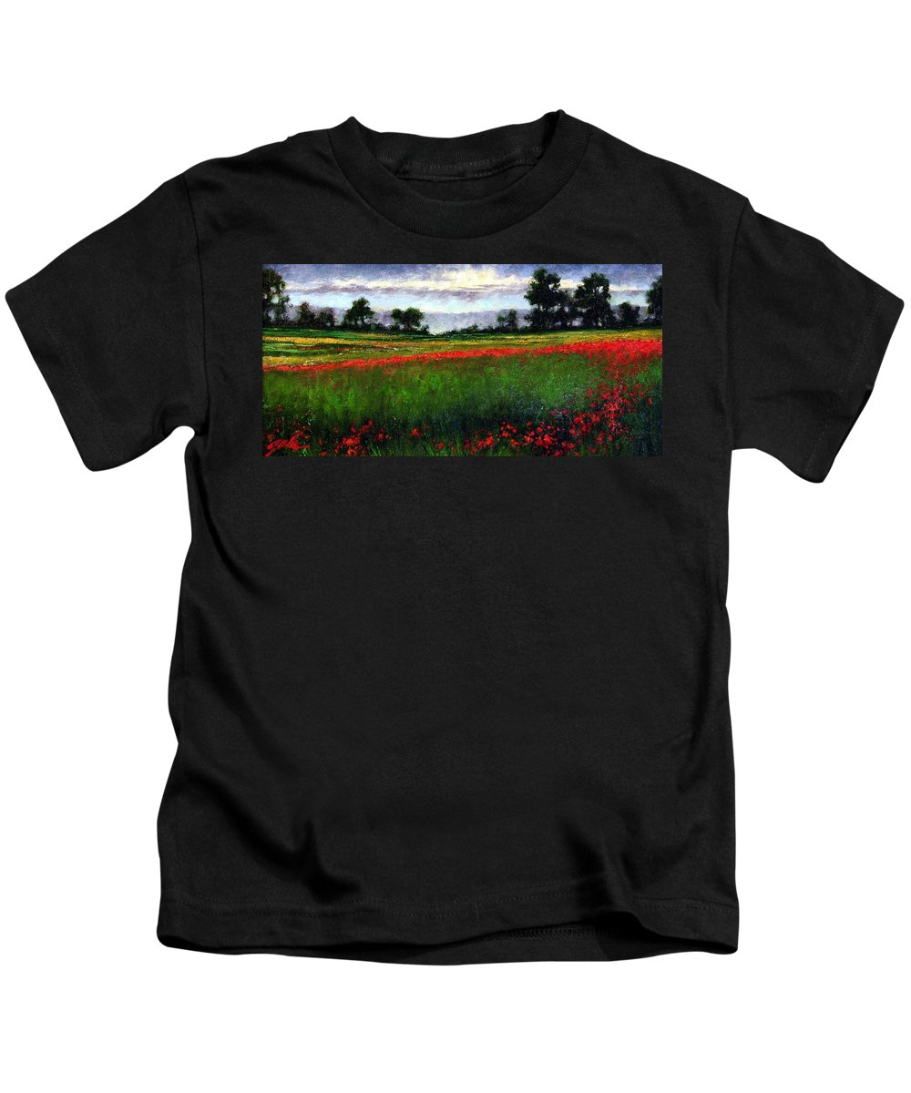 Landscape Kids T-Shirt featuring the painting Colorburst by Jim Gola