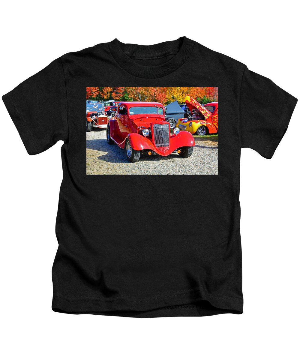 Car Kids T-Shirt featuring the photograph Colorful Car Show by Mike Martin