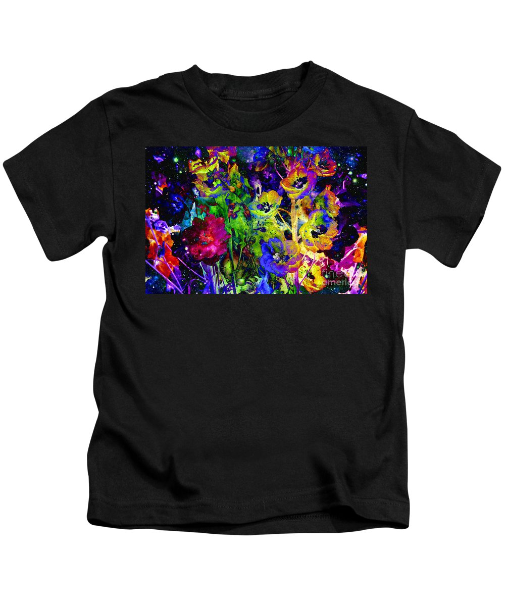 Digital Art Abstract Kids T-Shirt featuring the photograph Colorful Delphinium Dream by Carol Groenen