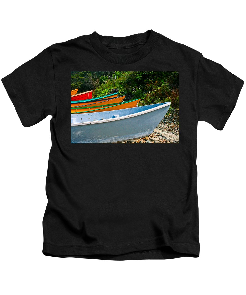 Fishing Kids T-Shirt featuring the photograph Colorful Fishing Boats On A Rocky Shore Grand Manan by Thomas Marchessault