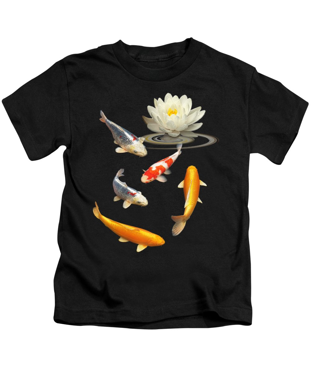 Fish Kids T-Shirt featuring the photograph Colorful Koi With Water Lily by Gill Billington