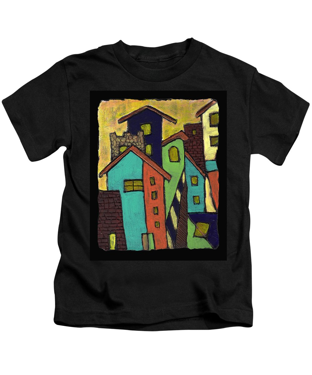 City Kids T-Shirt featuring the painting Colorful Neighborhood by Wayne Potrafka