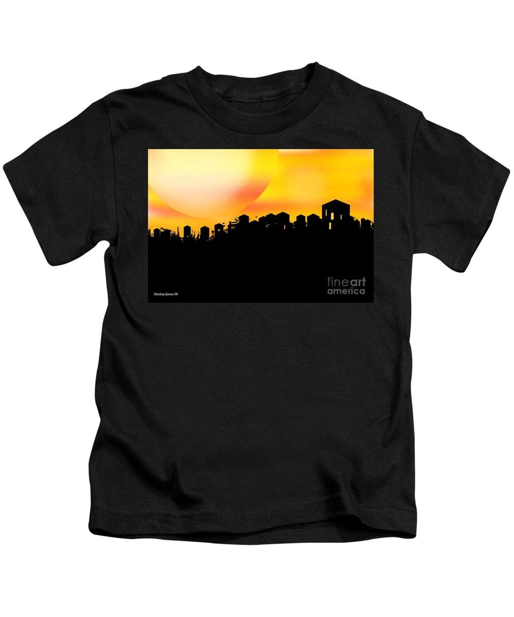 Sunset Kids T-Shirt featuring the digital art Colossal Ending by Shelley Jones