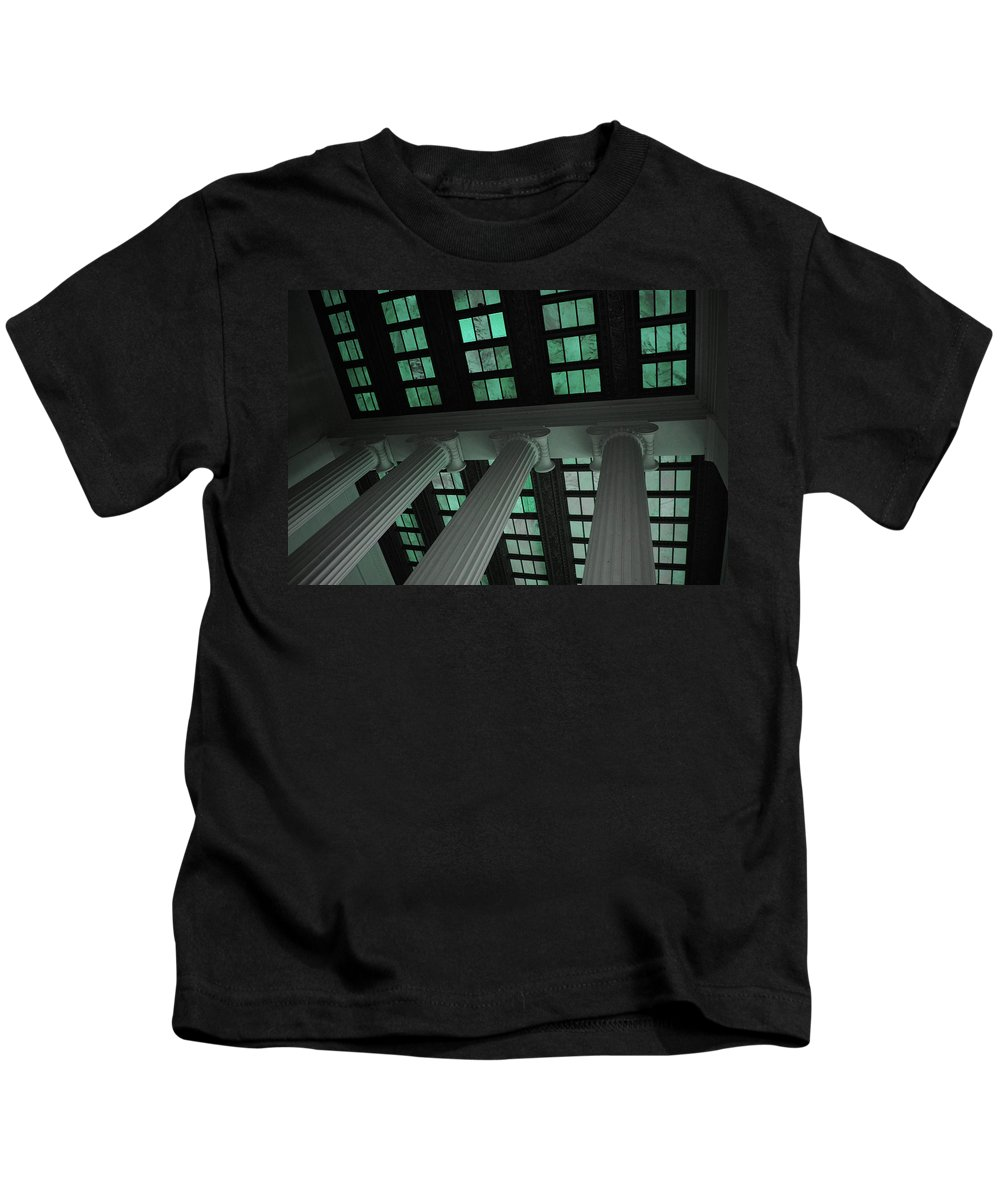 Lincoln Kids T-Shirt featuring the photograph Column Stain Teal by Jost Houk