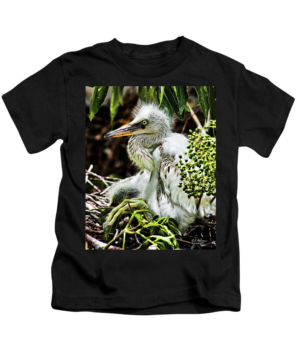 Egret Kids T-Shirt featuring the photograph Come On Feathers by Christopher Holmes