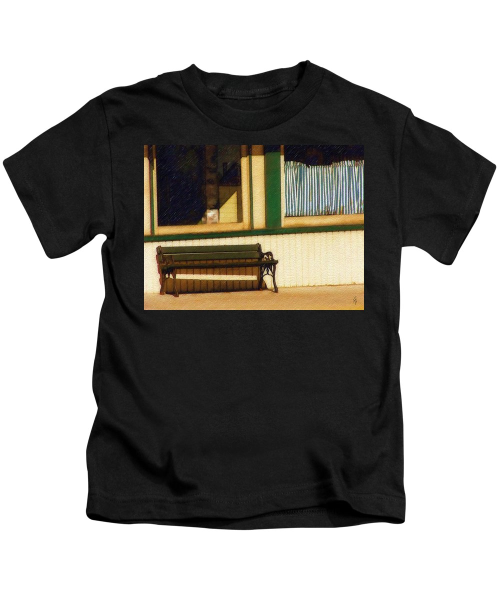 Bench Kids T-Shirt featuring the photograph Come Sit A Spell by Sandy MacGowan