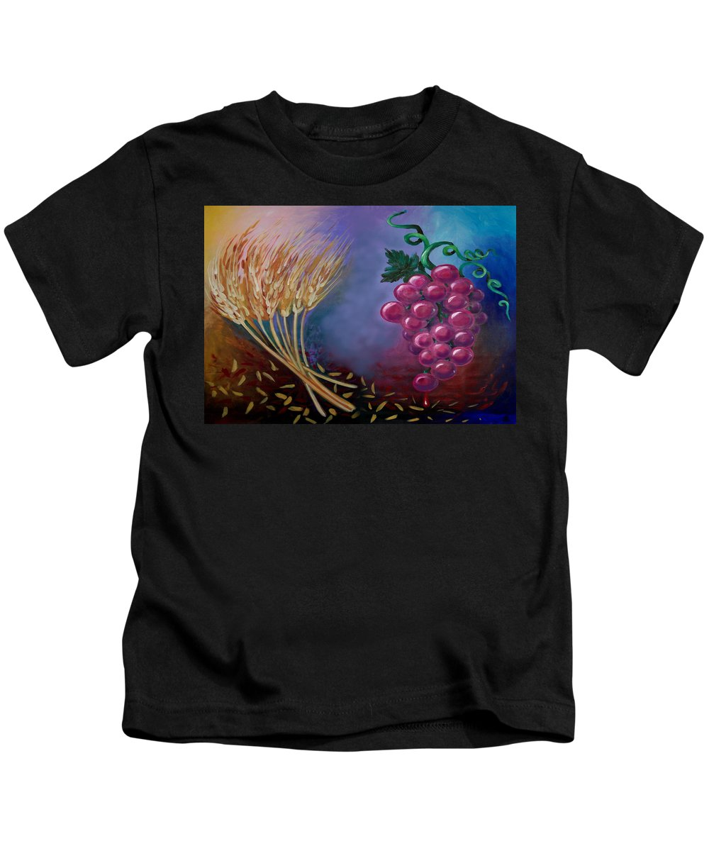 Communion Kids T-Shirt featuring the painting Communion by Kevin Middleton